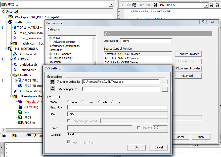 using cvs source revision control with active