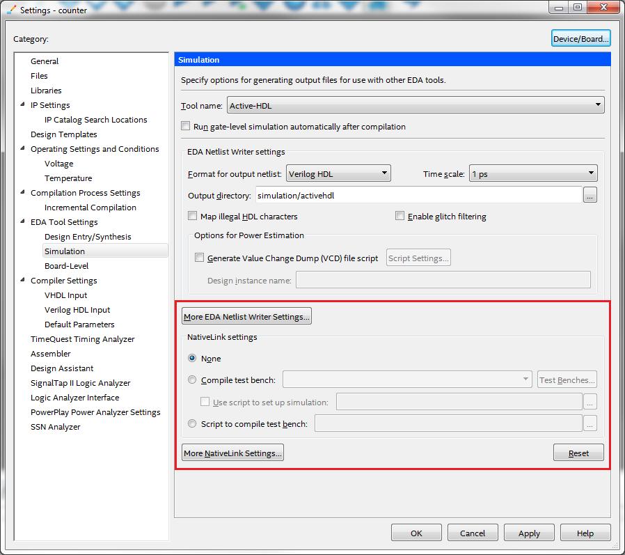 Starting Active-HDL Default Simulator Altera Quartus II